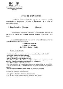 avis de concours - Faculté des Sciences Rabat
