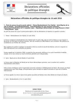 Déclarations officielles de politique étrangère du 16 août 2016