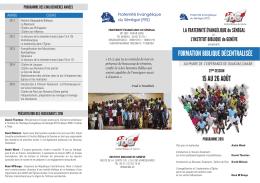 Formulaire d`inscription à la formation qui se déroulera à Dakar