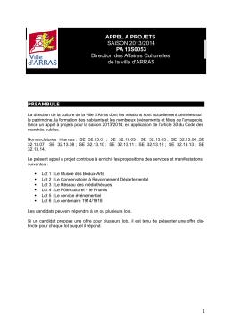Téléchargez dès à présent l`appel à projets - Arras 14-18