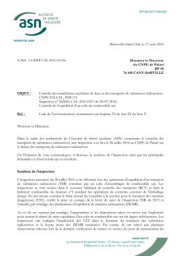 18/08/2016 Lettre de suite d`inspection Expédition d`un colis