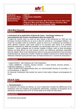 E24LT5 Littératures comparées L1/S2 Mme Christine Pouzoulet