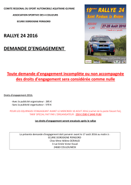 RALLYE 24 2016 DEMANDE D`ENGAGEMENT