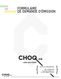 FORMULAIRE DE DEMANDE D`ÉMISSION