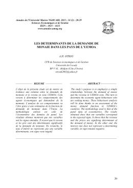 les determinants de la demande de monaie dans les pays de l`uemoa