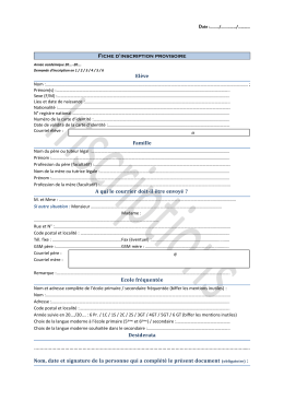 Page 1 @ @ Date :………/……………/………… Fiche d`inscription