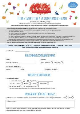 Fiche d`inscription à la restauration scolaire