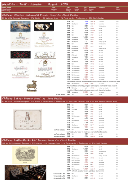 Winelist August 2016 Bordeaux 1er Grands Crus Classés