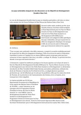 Les pays vulnérables évoqués lors des discussions - UN