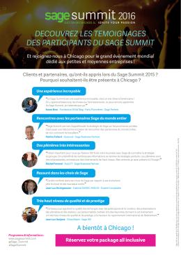 Découvrez les témoignages des participants au Sage Summit l