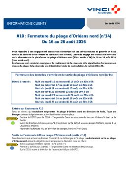 A10 : Fermeture du péage d`Orléans nord (n°14