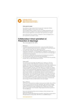 Collaborateur (-trice) spécialisé (
