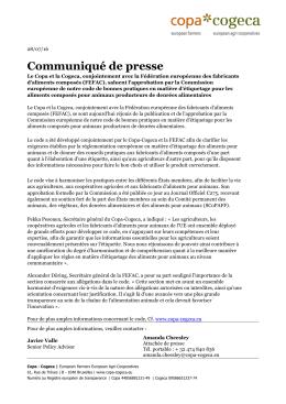 Communiqué de presse - Copa