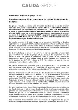 Premier semestre 2016: croissance du chiffre d