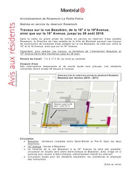 Travaux sur la rue Beaubien, de la 16 à la 18 Avenue, ainsi que sur