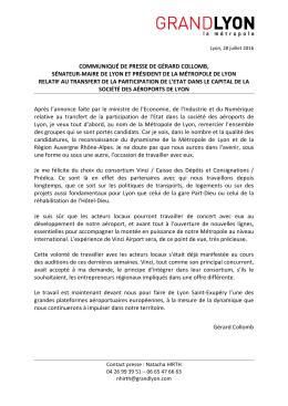 Communiqué de presse de Gérard Colomb, sénateur