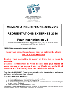 Inscriptions REORIENTATIONS EXTERNES 2016