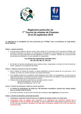 Règlement particulier - Chassieu Badminton Club