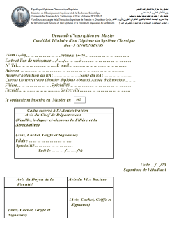 Bac+5 (INGENIEUR) Nom ( - Avis du Chef de Département (Veuillez