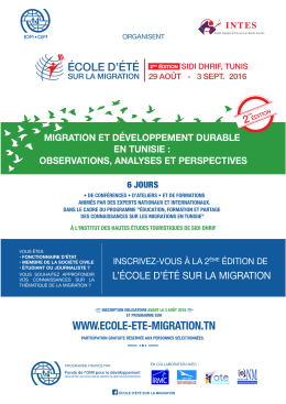 brochure 2016 EEM - Ecole d`Eté sur la Migration
