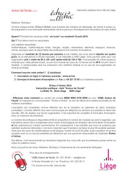 """Télécharger le PDF d`Echec à l`échec """"Août 2016"""" (infos et inscription)"""