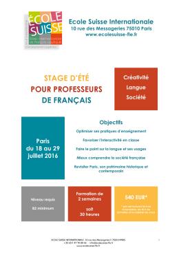 stage d`été pour professeurs de français