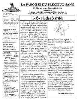 View Bulletin - La Paroisse du Precieux-Sang