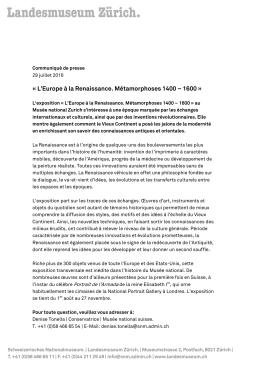 L`Europe à la Renaissance. Métamorphoses 1400 – 1600 » (PDF