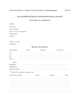 Formulaire de candidature - Mathématiques fondamentales
