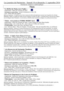 Les journées du Patrimoine - Samedi 10 et dimanche 11