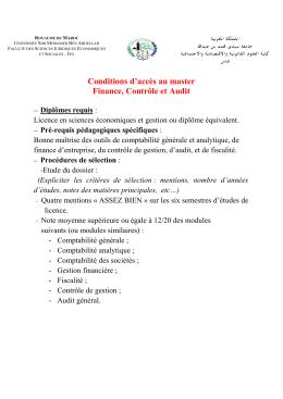 Voir Conditions d`accès - Faculté des Sciences Juridiques