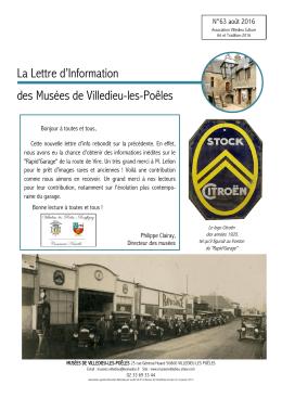 La Lettre d`Information des Musées de Villedieu-les
