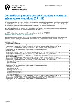 CP 111 - Service public fédéral Emploi, Travail et Concertation sociale