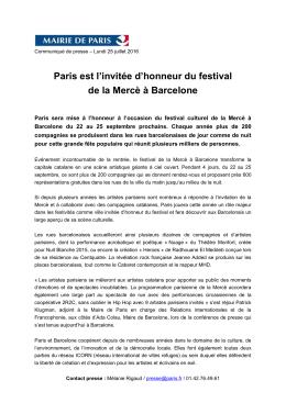 Paris est l`invitée d`honneur du festival de la Mercè à Barcelone