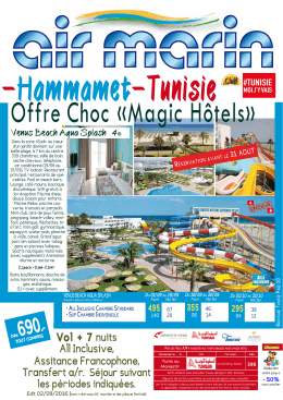 Offre Choc «Magic Hôtels