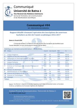 4. Rapport détaillé inscription 2016-2017