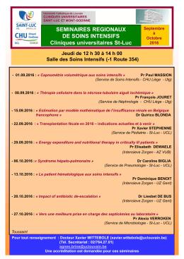 Séminaire des soins intensifs - Cliniques universitaires Saint-Luc