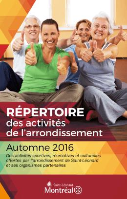 Répertoire des activités de l`arrondissement