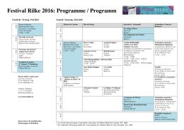 Festival Rilke 2016: Programme / Programm