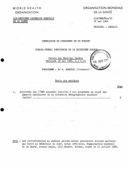 Commission du Programme et du Budget: procès