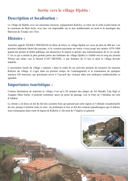 Sortie vers le village Djebla : Description et localisation : Histoire