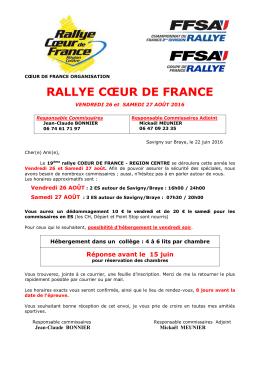 Commissaires - Rallye Coeur de France