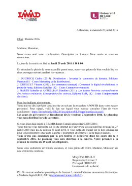 Courrier de rentree L3