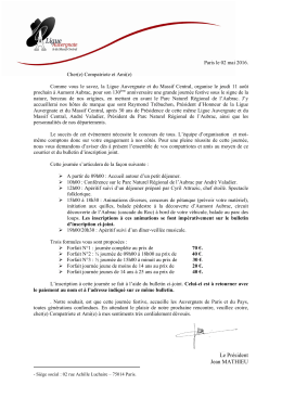 Bulletin d`inscription156.85 Ko - Ligue Auvergnate et du Massif