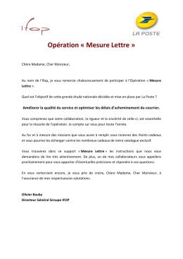 Opération « Mesure Lettre - La Poste | Mesure Lettre