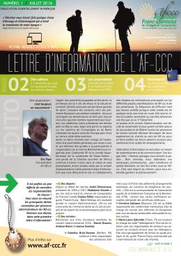 lettre d`information n°1 - juillet 2016 - Association franc
