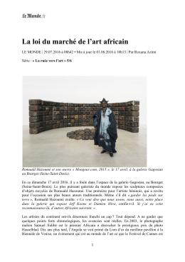 La loi du marché de l`art africain - Magnin-A