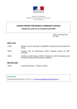AGENDA PRESSE PREVISIONNEL D`EMMANUEL MACRON