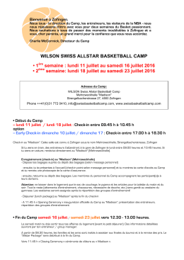 WILSON SWISS ALLSTAR BASKETBALL CAMP • 1ère semaine