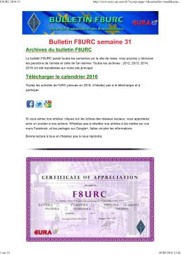 Bulletin F8URC semaine 31